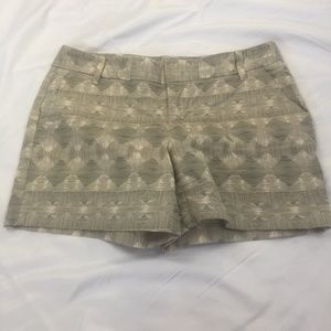 Caslon Beige With Green Print Shorts